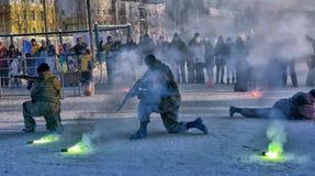 Απόδοση επίδειξης των ρωσικών προσγειωμένος στρατευμάτων στρατού μέσα Στοκ φωτογραφία με δικαίωμα ελεύθερης χρήσης