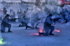 Απόδοση επίδειξης των ρωσικών προσγειωμένος στρατευμάτων στρατού μέσα Στοκ Εικόνες