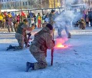 Απόδοση επίδειξης των ρωσικών προσγειωμένος στρατευμάτων στρατού μέσα Στοκ εικόνες με δικαίωμα ελεύθερης χρήσης