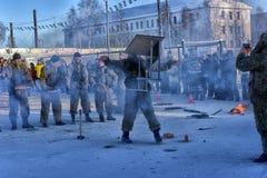 Απόδοση επίδειξης των ρωσικών προσγειωμένος στρατευμάτων στρατού μέσα Στοκ Εικόνα