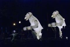 Απόδοση θεάτρων Menage Remue στο πάρκο του Γκόρκυ στη Μόσχα στοκ εικόνα