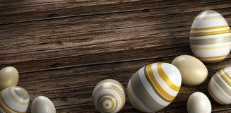 Απόδοση των αυγών Πάσχας στο ξύλινο υπόβαθρο στοκ φωτογραφία