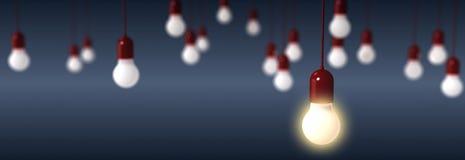 Απόδοση των λαμπών φωτός στο μπλε υπόβαθρο Στοκ Φωτογραφίες