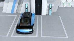 Απόδοση Wireframe τροφοδοτημένου του κύτταρο καυσίμου αυτόνομου αυτοκινήτου στο σταθμό υδρογόνου κυττάρων καυσίμου ελεύθερη απεικόνιση δικαιώματος