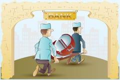 απόθεμα απεικόνισης κατασκευής κάτω από το διάνυσμα Οι αστείες νοσοκόμες παίρνουν μαζί από την τράπεζα σε ένα σύμβολο νομίσματος  απεικόνιση αποθεμάτων
