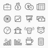 Απόθεμα και σύνολο εικονιδίων γραμμών συμβόλων αγοράς Στοκ Εικόνες