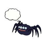 απόκοσμη αράχνη κινούμενων σχεδίων με τη σκεπτόμενη φυσαλίδα Στοκ Εικόνα