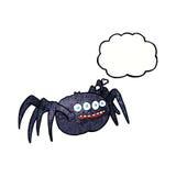 απόκοσμη αράχνη κινούμενων σχεδίων με τη σκεπτόμενη φυσαλίδα Στοκ φωτογραφία με δικαίωμα ελεύθερης χρήσης