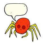 απόκοσμη αράχνη κρανίων αποκριών κινούμενων σχεδίων με τη λεκτική φυσαλίδα Στοκ Εικόνες