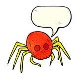 απόκοσμη αράχνη κρανίων αποκριών κινούμενων σχεδίων με τη λεκτική φυσαλίδα Στοκ Φωτογραφίες