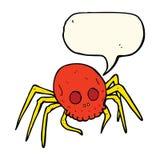 απόκοσμη αράχνη κρανίων αποκριών κινούμενων σχεδίων με τη λεκτική φυσαλίδα Στοκ φωτογραφία με δικαίωμα ελεύθερης χρήσης