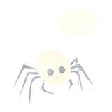 απόκοσμη αράχνη κρανίων αποκριών κινούμενων σχεδίων με τη σκεπτόμενη φυσαλίδα Στοκ Φωτογραφίες