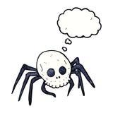απόκοσμη αράχνη κρανίων αποκριών κινούμενων σχεδίων με τη σκεπτόμενη φυσαλίδα Στοκ εικόνες με δικαίωμα ελεύθερης χρήσης