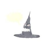 απόκοσμο καπέλο μαγισσών κινούμενων σχεδίων με τη λεκτική φυσαλίδα Στοκ Φωτογραφία