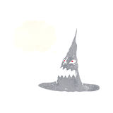 απόκοσμο καπέλο μαγισσών κινούμενων σχεδίων με τη σκεπτόμενη φυσαλίδα Στοκ φωτογραφίες με δικαίωμα ελεύθερης χρήσης