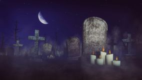 Απόκοσμο νεκροταφείο στη νύχτα σεληνόφωτου 4K ελεύθερη απεικόνιση δικαιώματος
