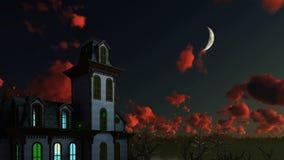 Απόκοσμο σπίτι και δραματικός νυχτερινός ουρανός με το μισό φεγγάρι διανυσματική απεικόνιση