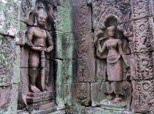 Απόκρυφη bas-ανακούφιση στους τοίχους της καμποτζιανής αρχαίας πόλης Ankgor Wat Στοκ εικόνες με δικαίωμα ελεύθερης χρήσης