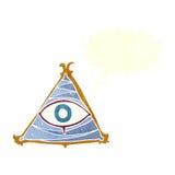 απόκρυφο σύμβολο ματιών κινούμενων σχεδίων με τη λεκτική φυσαλίδα Στοκ φωτογραφίες με δικαίωμα ελεύθερης χρήσης