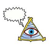 απόκρυφο σύμβολο ματιών κινούμενων σχεδίων με τη λεκτική φυσαλίδα Στοκ Εικόνα