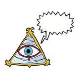 απόκρυφο σύμβολο ματιών κινούμενων σχεδίων με τη λεκτική φυσαλίδα Στοκ φωτογραφία με δικαίωμα ελεύθερης χρήσης