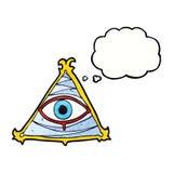 απόκρυφο σύμβολο ματιών κινούμενων σχεδίων με τη σκεπτόμενη φυσαλίδα Στοκ Φωτογραφία