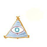 απόκρυφο σύμβολο ματιών κινούμενων σχεδίων με τη σκεπτόμενη φυσαλίδα Στοκ Εικόνα