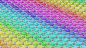 Απόμακρη πιθανότητα μιας ογκώδους σειράς ολοκληρωμένων Colorfully φλυτζανιών καφέ Στοκ Εικόνες