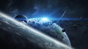 Απόμακρο σύστημα πλανητών στη διαστημική τρισδιάστατη απόδοση ελεύθερη απεικόνιση δικαιώματος