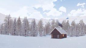Απόμερη καλύβα κούτσουρων στα βουνά στη χιονώδη χειμερινή ημέρα φιλμ μικρού μήκους