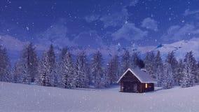 Απόμερο σπίτι βουνών στη χειμερινή νύχτα 4K χιονοπτώσεων ελεύθερη απεικόνιση δικαιώματος