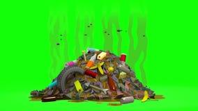 Απόρριψη απορριμάτων με τις μύγες τρισδιάστατη ζωτικότητα στο ύφος κινούμενων σχεδίων Πράσινη οθόνη, loopable διανυσματική απεικόνιση