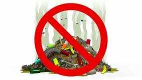 Απόρριψη απορριμάτων στο απαγορευμένο σημάδι, τρισδιάστατη απεικόνιση Στοκ φωτογραφία με δικαίωμα ελεύθερης χρήσης