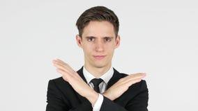 Απόρριψη της προσφοράς, επιχειρηματίας στο άσπρο υπόβαθρο Στοκ Εικόνα