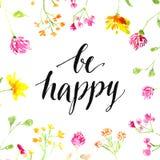 Απόσπασμα έμπνευσης - να είστε ευτυχής - χειρόγραφο μέσα ελεύθερη απεικόνιση δικαιώματος