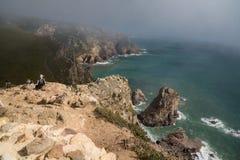 Απότομοι βράχοι βημάτων cabo de roca στοκ εικόνες