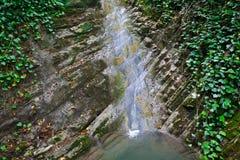 Απότομοι βράχοι που εισβάλλονται με τον κισσό και το βρύο με το ρέοντας καταρράκτη Στοκ εικόνα με δικαίωμα ελεύθερης χρήσης