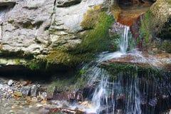 Απότομοι βράχοι που εισβάλλονται με το βρύο με τα ρέοντας ρεύματα του κολπίσκου βουνών Στοκ φωτογραφία με δικαίωμα ελεύθερης χρήσης