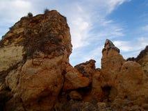 Απότομοι βράχοι του Αλγκάρβε Στοκ Εικόνα