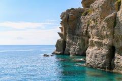 Απότομοι βράχοι Galini Agia Στοκ φωτογραφία με δικαίωμα ελεύθερης χρήσης