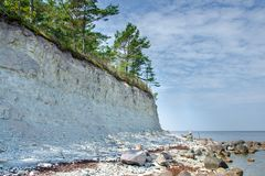 Απότομοι βράχοι Panga στη θάλασσα της Βαλτικής στο νησί Saaremaa, Εσθονία στοκ φωτογραφία