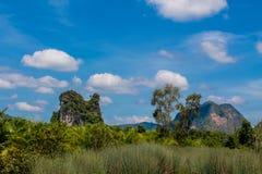 Απότομος βράχος ασβεστόλιθων σε Krabi AO Nang και Phi Phi, Ταϊλάνδη Στοκ εικόνα με δικαίωμα ελεύθερης χρήσης