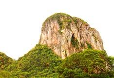 Απότομος βράχος βουνών υψηλός και δασικός στην άσπρη επαρχία Phatthalung υποβάθρου της νότιας Ταϊλάνδης Στοκ Φωτογραφίες