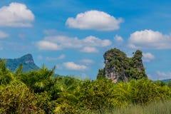 Απότομος βράχος βράχου ασβεστόλιθων στον κόλπο Krabi, τον κόλπο AO Nang, Railei και την παραλία Ταϊλάνδη Tonsai Στοκ φωτογραφία με δικαίωμα ελεύθερης χρήσης