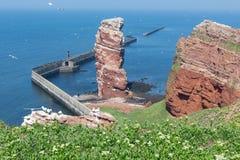 Απότομος βράχος Lange Anna στο δυτικό σημείο του γερμανικού νησιού Helgoland Στοκ Εικόνες