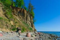 Απότομος βράχος Orlowo στη θάλασσα της Βαλτικής, Πολωνία Στοκ Εικόνα