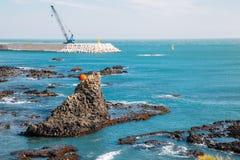 Απότομος βράχος Yangnam Jusangjeolli Gyeongju, κιονοειδείς ένωση και θάλασσα στην Κορέα Στοκ εικόνα με δικαίωμα ελεύθερης χρήσης
