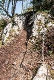 Απότομο ίχνος πεζοπορίας με τους βράχους ασβεστόλιθων που εξασφαλίζονται από την αλυσίδα Στοκ Εικόνες