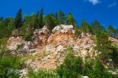 Απότομο βουνό με τα δέντρα Στοκ Εικόνες