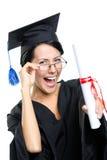 Απόφοιτος σχολείου στα γυαλιά με το δίπλωμα στοκ εικόνες